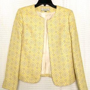 Tabard Jacquard Yellow Blazer Size 6